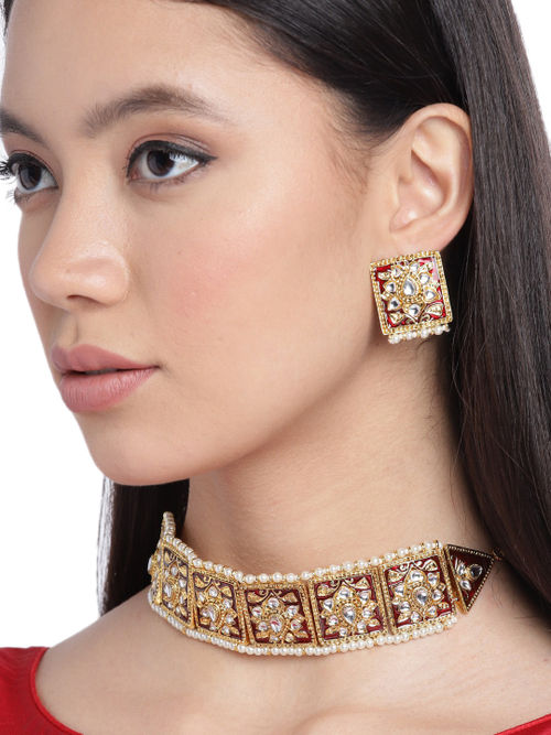 Details about  / Indian Ethnic Pearl Crystal Kundan Choker Necklace Jewelry Set for Women