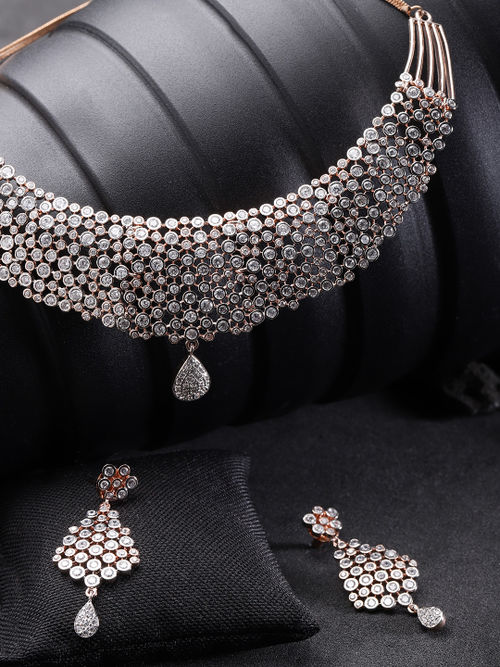 Priyaasi Rose Gold Plated American Diamond Studded Jewellery Set Buy Priyaasi Rose Gold Plated American Diamond Studded Jewellery Set Online At Best Price In India Nykaa