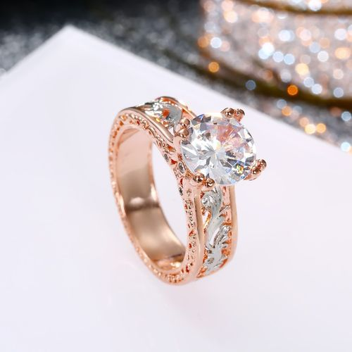 Oomph Rose Gold Plated Floral Filigree Solitaire Cubic Zirconia Engagement Ring Buy Oomph Rose Gold Plated Floral Filigree Solitaire Cubic Zirconia Engagement Ring Online At Best Price In India Nykaa