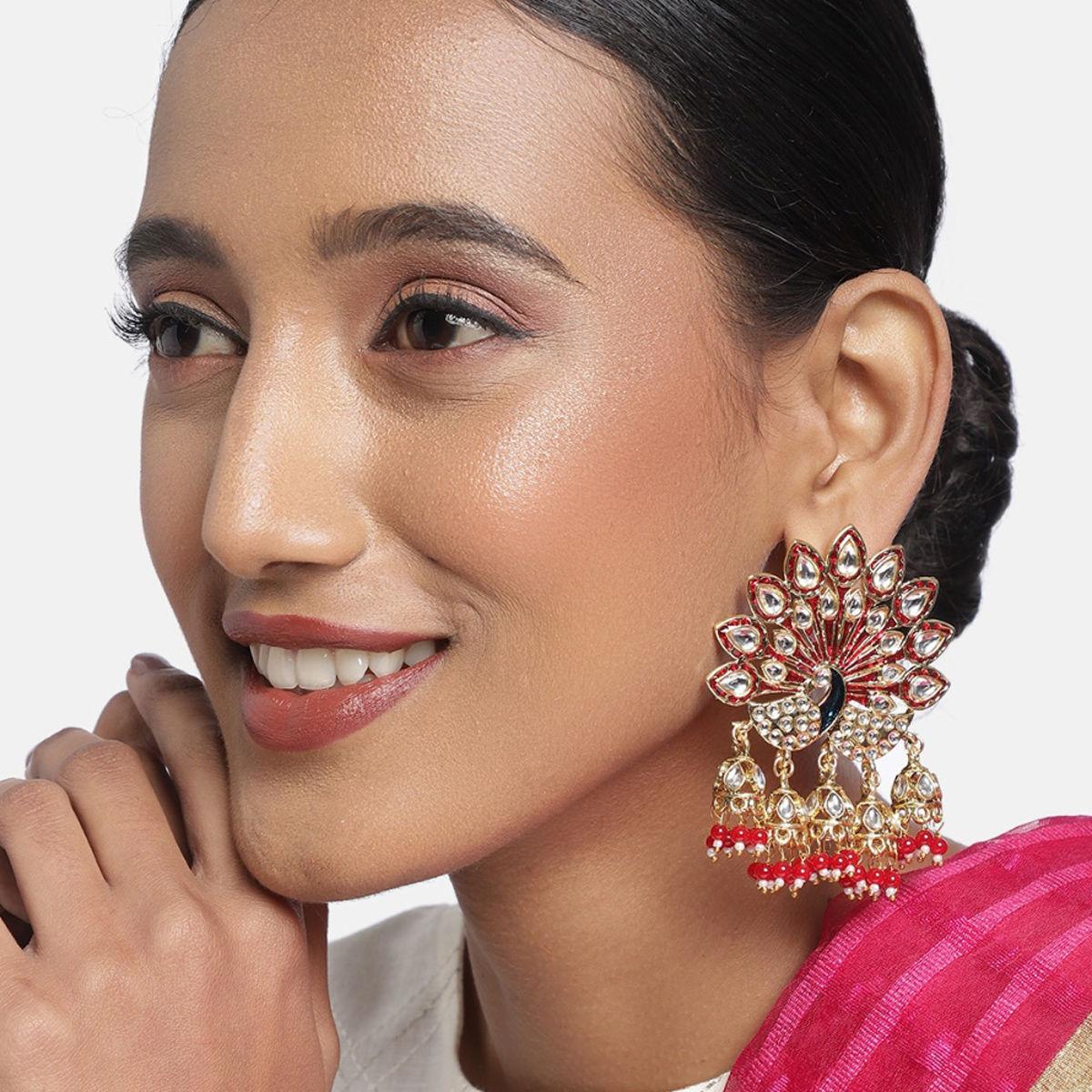 Designer Zaveri Pearls Gold-Plated Kundan /& Pearls Dropping Blue Enamel Paint Tear Drop Design Big Jhumka Earring Bollywood Indian Jewelry