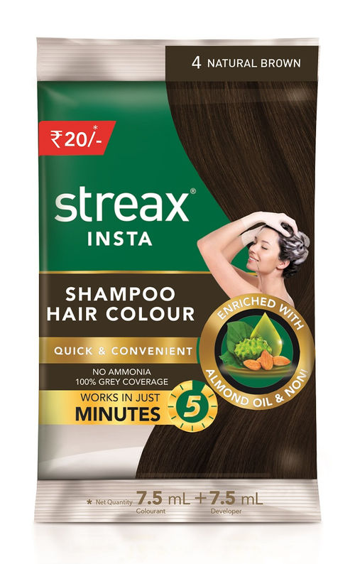 Streax Insta Shampoo Hair Colour Natural Brown 4 Buy Streax Insta Shampoo Hair Colour Natural Brown 4 Online At Best Price In India Nykaa