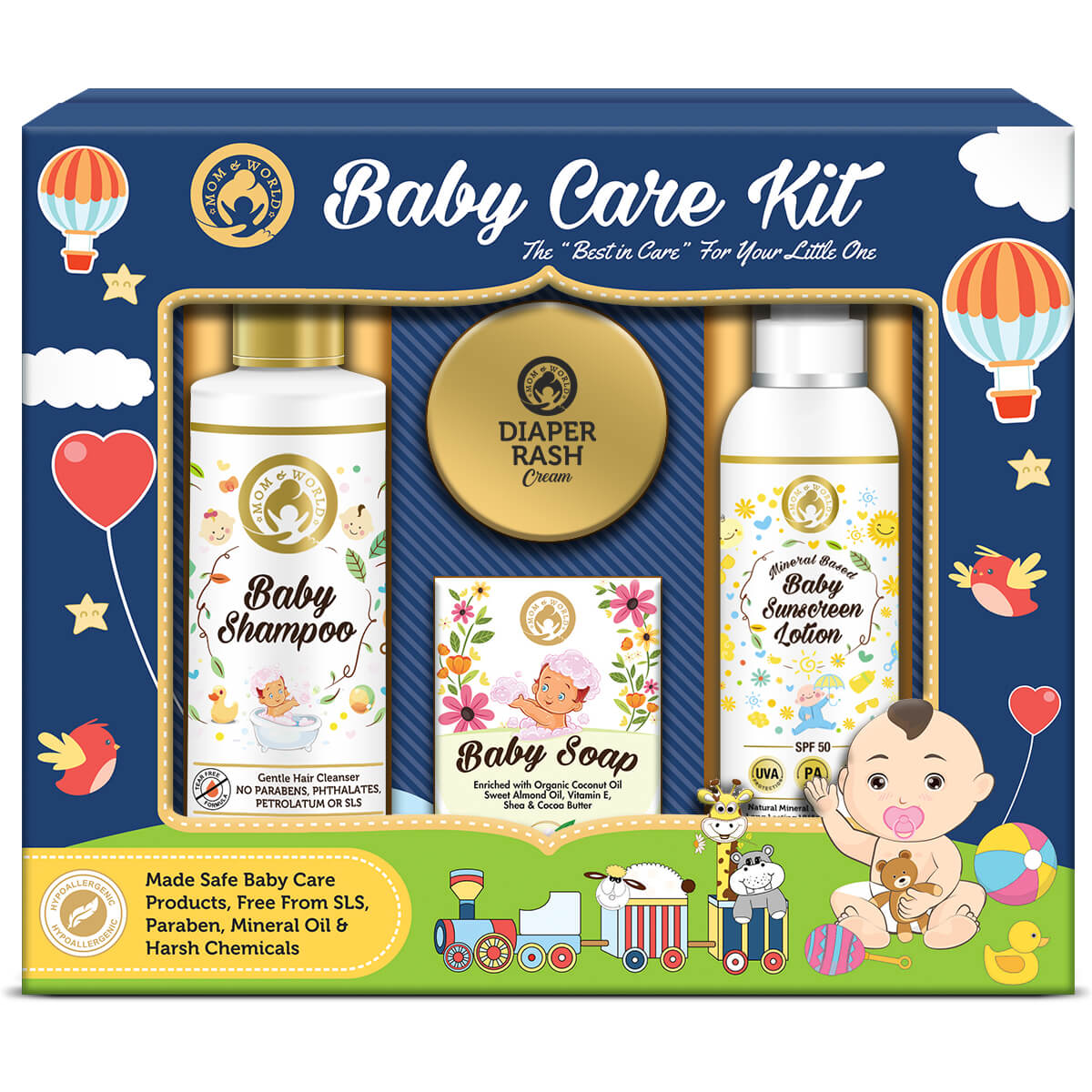 Mom World Baby Care Collection Gift Pack Baby Shampoo Baby Soap Baby Sunscreen Lotion Diaper Rash Cream Buy Mom World Baby Care Collection Gift Pack