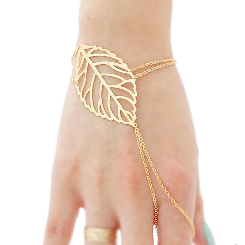 Femnmas Golden Leaf Ring Bracelet