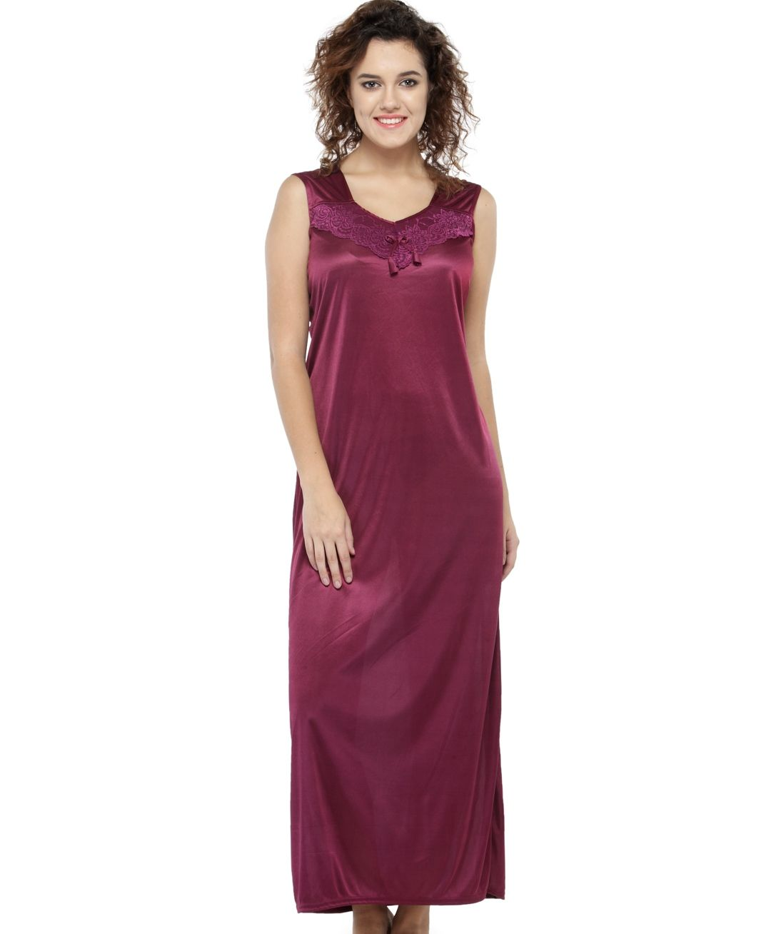 N Gal Women S Solid Maroon Long Night Gown For Women Buy N Gal Women S Solid Maroon Long Night Gown For Women Online At Best Price In India Nykaa