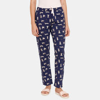 Zivame Core Knit Cotton Sleep Pyjama - Navy