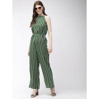 Twenty Dresses Living On The Lines Green Striped Jumpsuit