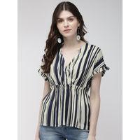 Twenty Dresses A Cute Wrap Striped Top - Multi-Color