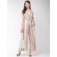 Twenty Dresses Ruffle Thrill Striped Jumpsuit - Multi-Color