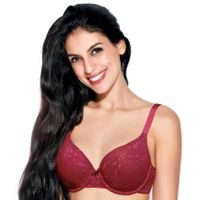 Enamor F033 T-Shirt Bra - High Coverage, Padded & Wired - Red