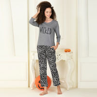 Clovia Cotton Rich Text Print Top & Pyjama Set - Multi-Color