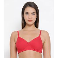 Clovia Cotton Padded Non-Wired Multiway T-Shirt Bra - Red
