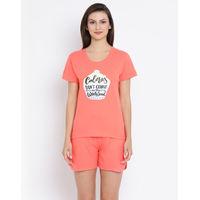 Clovia Cotton Rich Printed Top & Shorts Set - Coral