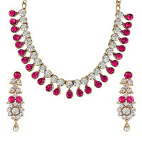 Anika's Creation Exclusive Kundan Studded Partywear Gold Plated Necklace Set