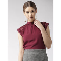 Twenty Dresses By Nykaa Fashion Maroon Laced In Love Top