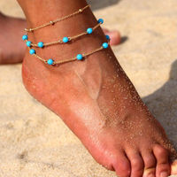 Ferosh Marvella Gold Turquoise-Beaded Layered Anklet