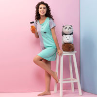 Clovia Cotton Bear Print Short Nighty - Green