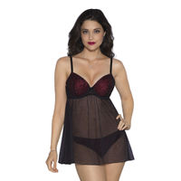 Amante Blush Red And Black Lace Babydoll