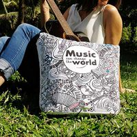 Doodle Collection Music Addict Canvas Tote Bags