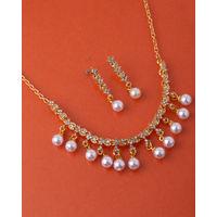 Voylla Cz Pearl Drop Necklace Set