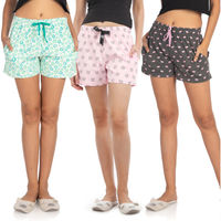 Nite Flite Women's Cotton Shorts Pack of 3 - Multi-Color