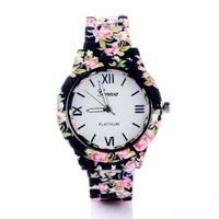 Joker & Witch Black & Pink Floral Strap Watch