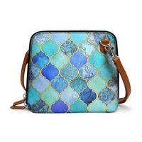 DailyObjects Aqua Blue Gold Moroccan - Trapeze Crossbody Bag