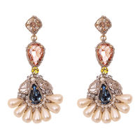 St Erasmus Preeti Chandellier Multi Color & Pearl Earring