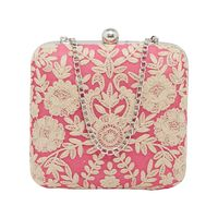 Tarusa Pink Silk Clutch With Delicate Thread Embroidery