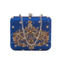 Tarusa Blue Silk Embroidered Box Clutch