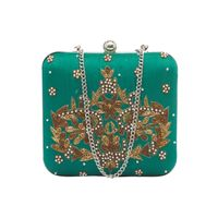Tarusa Sea Green Silk Embroidered Box Clutch