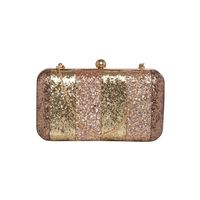 Tarusa Silver Synthetic Shimmer Floral Box Clutch