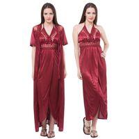 Fasense Women Satin Nightwear 2 PCs Set Of Nighty & Wrap Gown - Maroon