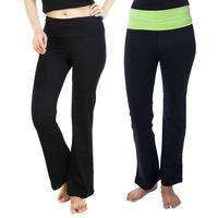 Nite Flite Women's Black Yoga Pants- Pack of 2 Black & Green Waistbands