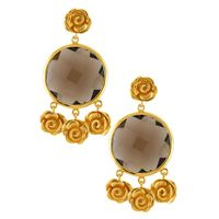 Tribe By Amrapali Silver Gold Plated Rosy Smoky Earrings