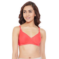 Clovia Cotton Rich Non-Padded Non-Wired T-Shirt Bra With Lace - Pink