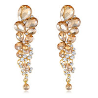 Jewels Galaxy Yellow Gold-Plated Stone-Studded Contemporary Drop Earrings