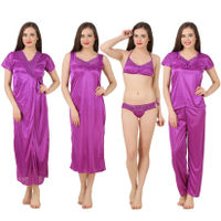Fasense Women Satin Nightwear 6 PCs Set of Long Wrap, Nighty, Top, Pyjama, Bra & Thong - Purple