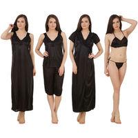 Fasense Women Satin Nightwear 6 PCs Set of Long Wrap, Nighty, Top, Capri, Bra & Thong - Black