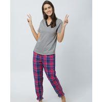 Mystere Paris Ruched Lace Tshirt Pyjama Set - Multi-Color
