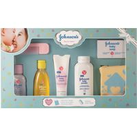 Johnson's Baby Care Collection with Organic Cotton Baby Tshirt (7 Gift Items, Blue)