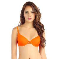 Candyskin Nylon Spandex Push Up Plain Bra (Orange)