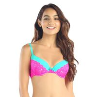 Candyskin Nylon Spandex Push Up Half Lace Bra (Teal-Pink)