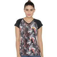 N-Gal Dry Fit Lycra Women's Polo Zip Neck Long Sleeve Yoga- Training- Gym T-Shirt - Black