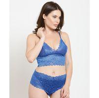 N-Gal Floral Pattern Blue Lace Top & Bottom Lingerie Set