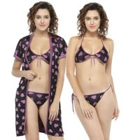 N-Gal Women Purple Printed Bikini with Robe Nighty