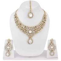 Anika's Creation Partywear Stone Studded Necklace Set with Maang Tikka