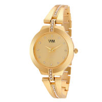 WM Gold Dial Stainless Steel Strap Watch For Women (WMAL-337new)