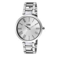 WM Silver Dial Stainless Steel Strap Watch For Women (WMAL-344new)