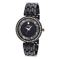 WM Black Dial Stainless Steel Strap Watch For Women (WMAL-352new)