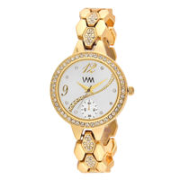 WM White Dial Gold Stainless Steel Strap Watch For Women (WMAL-353new)